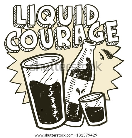 Doodle style liquid courage alcohol drinking sketch in vector format.  Includes pint glass, text, shot glass, and beer bottle.