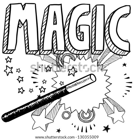 Doodle style magic performer illustration in vector format.  Includes text and magic wand - stock vector