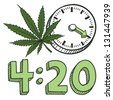 Doodle style 420 marijuana leaf sketch in vector format. Includes pot plant, text, and clock. - stock vector