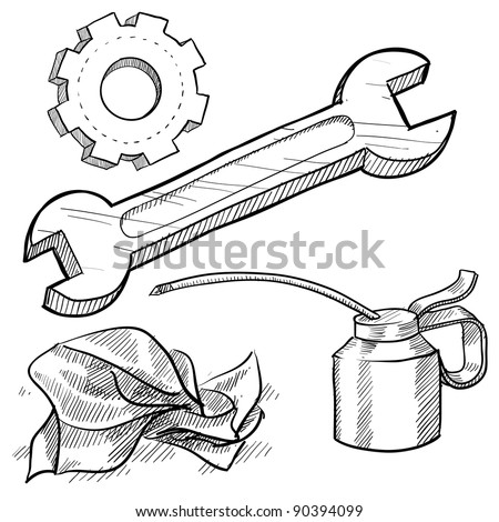 Doodle style mechanic or car maintenance vector illustration with oil can, wrench, gear, and rag - stock vector