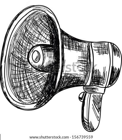 Doodle style megaphone  vector illustration  - stock vector
