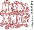 Doodle style Merry Xmas or Christmas message background with text and candy canes and peppermints.  Vector format. - stock vector