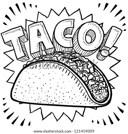 Doodle style Mexican food taco sketch in vector format. - stock vector
