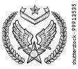 Doodle style military insignia for US Air Force including eagle wings and star - stock vector
