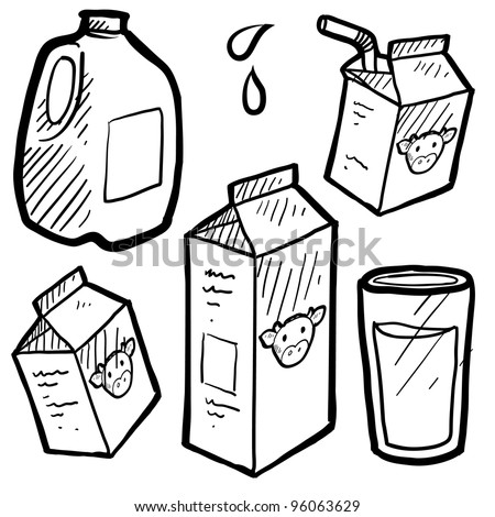 Doodle style milk and juice illustration set in vector format. Includes paper and plastic cartons and full glass of liquid. - stock vector