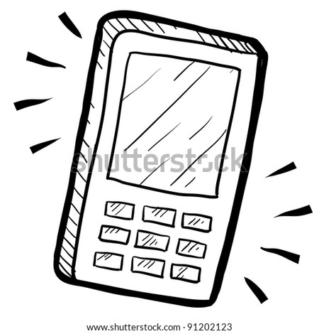 Doodle style mobile phone or calculator illustration in vector format suitable for web, print, or advertising use. - stock vector