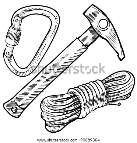Doodle style mountain climbing gear in vector format including rope, pick, and carabiner - stock vector
