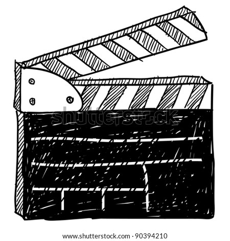 Doodle style movie set clapperboard vector illustration - stock vector