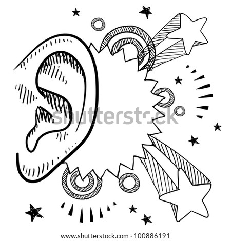 Doodle style music meets the ear with pop explosion illustration in vector format - stock vector