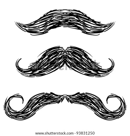 Doodle style mustaches sketch in vector format - stock vector