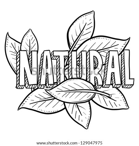 Doodle style natural food or product illustration in vector format.  Includes title text and leaves. - stock vector