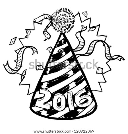 Doodle style New Year's Eve celebration sketch including party hat, confetti, and 2016 date marker.  Vector format. - stock vector
