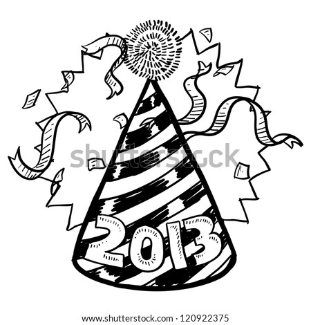 Doodle style New Year's Eve celebration sketch including party hat, confetti, and 2013 date marker.  Vector format. - stock vector