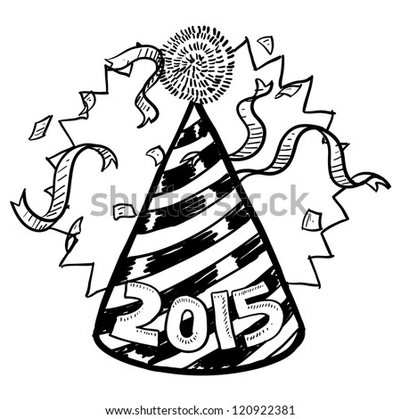 Doodle style New Year's Eve celebration sketch including party hat, confetti, and 2015 date marker.  Vector format. - stock vector