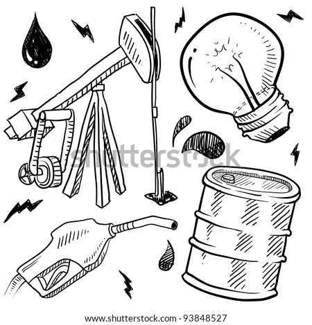 Doodle style oil and gas energy sketch in vector format. Set includes gas pump, oil well, light bulb, and barrel. - stock vector