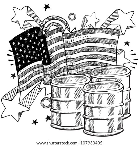 Doodle style oil barrel with American flag sketch in vector format - stock vector