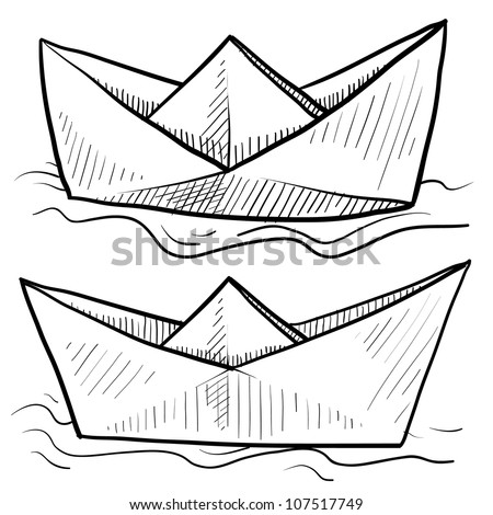 Doodle style origami folded paper boat floating on water in vector format. - stock vector