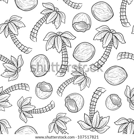 Doodle style palm tree and coconut seamless background pattern ready for tiling in vector format. - stock vector