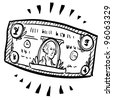 Doodle style paper currency or dollar bill illustration with motion mark indicating stretching or expansion.  Vector file. - stock photo