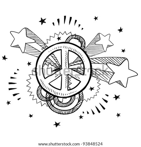 Doodle style peace sign with 1970s pop explosion background sketch in vector format. - stock vector