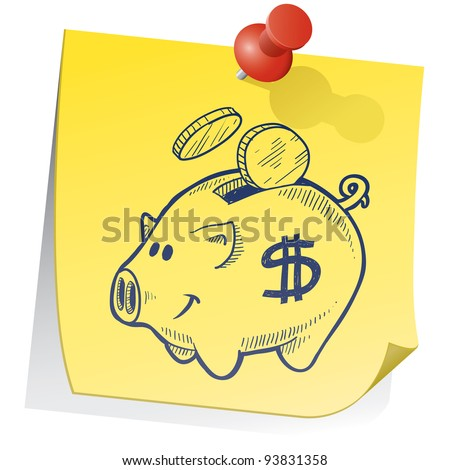 Doodle style piggy bank on yellow sticky note sketch in vector format - stock vector