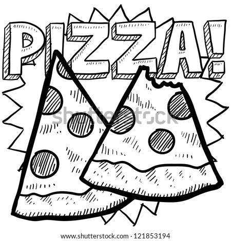 Doodle style pizza illustration with two slices and text message in vector format.