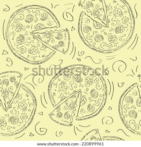 Doodle style pizza slice seamless vector background - stock vector