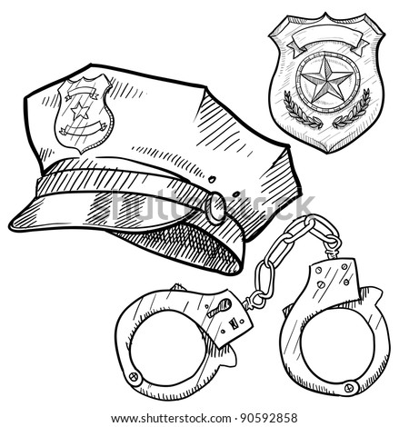 Doodle style policeman objects in vector format including hat, handcuffs, and badge - stock vector