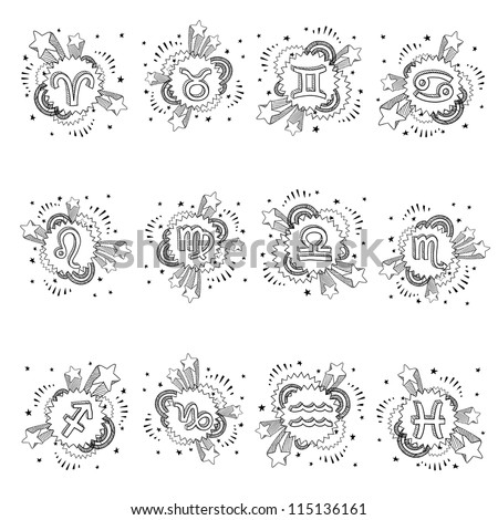 Doodle style pop astrology symbol sketch. Set includes Cancer, Capricorn, Aries, Pisces, Gemini, Aquarius, Sagittarius, Leo, Virgo, Libra, Taurus, Scorpio. Vector format.