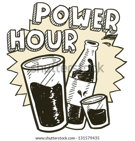 Doodle style power hour alcohol drinking sketch in vector format.  Includes pint glass, text, shot glass, and beer bottle.