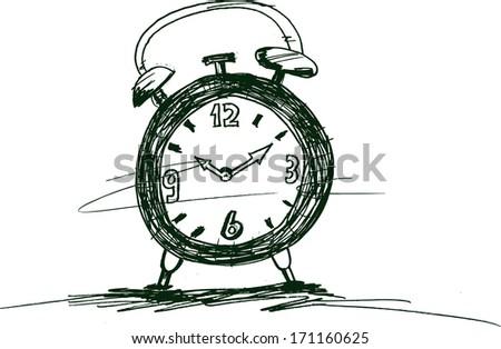 Doodle style retro alarm clock - stock vector