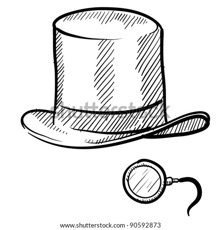 Doodle style rich man's top hat and monocle in vector format - stock vector
