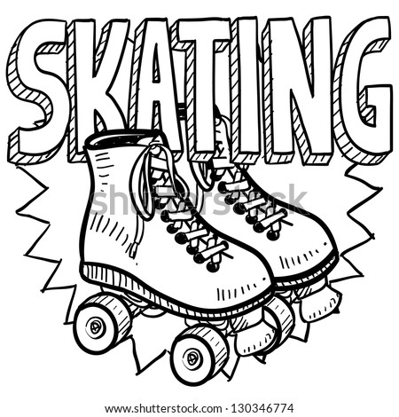 Doodle style  roller skating illustration in vector format. Includes text and skates.
