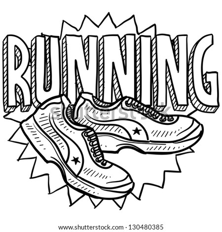 Doodle style running sports illustration.  Includes text and running shoes. - stock vector
