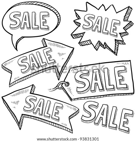 Doodle style sale tag, arrows, and labels sketch in vector format - stock vector