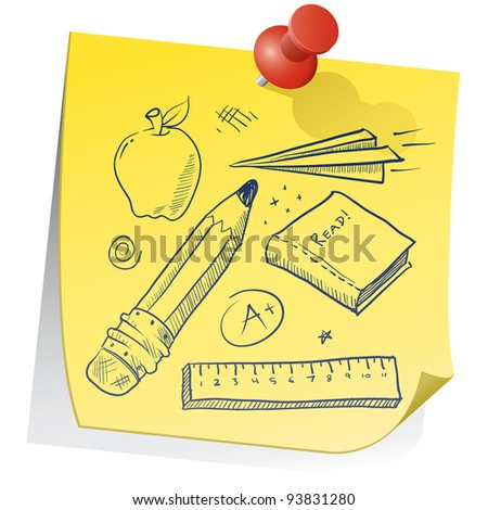 Doodle style school equipment on yellow sticky note sketch in vector format.  Includes pencil, apple, ruler, book, grade, and paper airplane. - stock vector