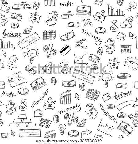 Doodle style seamless background - money, business and finance texture. - stock vector