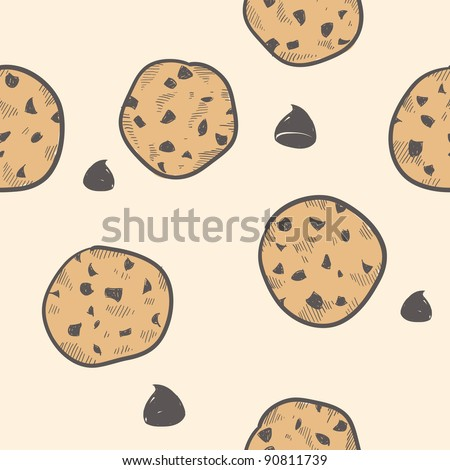 Doodle style seamless cookie treats tiled vector background