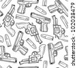 Doodle style seamless handgun background designed to be tiled. Vector format. - stock vector