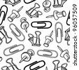 Doodle style seamless office supplies background pattern that can be tiled in vector format.  Includes paperclips, pushpins, and butterfly clips. - stock photo