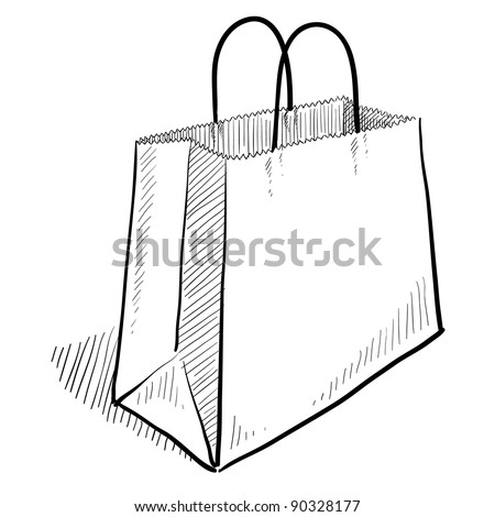 Doodle style shopping bag illustration - stock vector