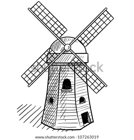 Dutch Windmill Coloring Page Doodle Style Sketch Of A Dutch