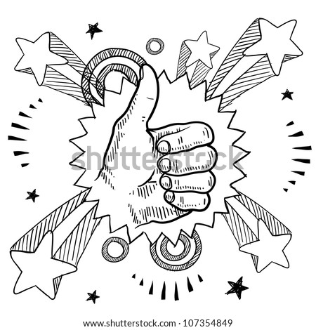 Doodle style sketch of a thumbs up sign with pop explosion background in 1960s or 1970s style in vector illustration.