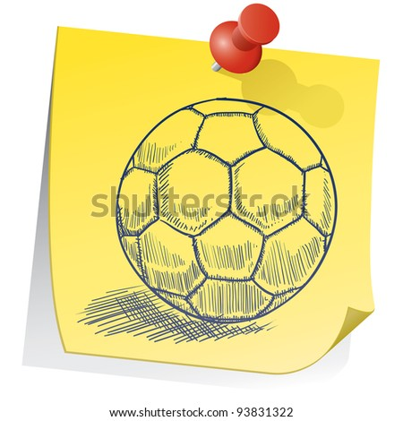 Doodle style soccer ball on yellow sticky note sketch in vector format - stock vector