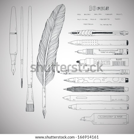 doodle style stationery and drawing tools - stock vector