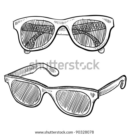 Doodle style sunglasses vector illustration - stock vector