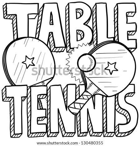 Doodle style table tennis or ping pong sports illustration.  Includes text, paddles, and balls. - stock vector