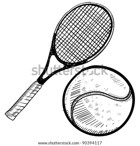 Doodle style tennis ball and racket vector illustration - stock vector