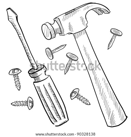 Doodle style tools or home improvement vector illustration with hammer, nails, and screwdriver - stock vector