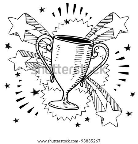 Doodle style trophy sketch in vector format on retro stars and fireworks background - stock vector
